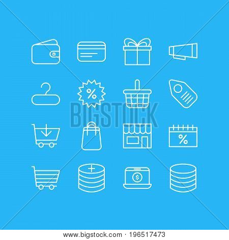 Editable Pack Of Present, Market, Discount And Other Elements. Vector Illustration Of 16 Commerce Icons.
