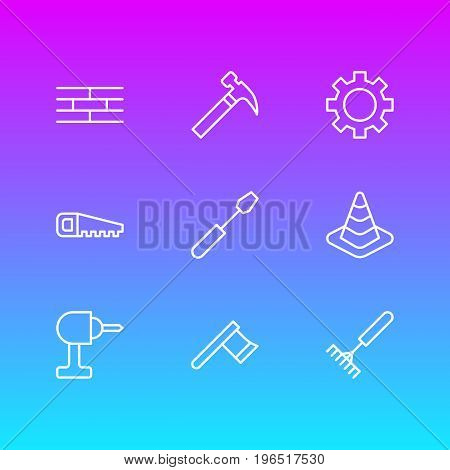 Vector Illustration Of 9 Construction Icons. Editable Pack Of Turn Screw, Barrier, Cogwheel And Other Elements.