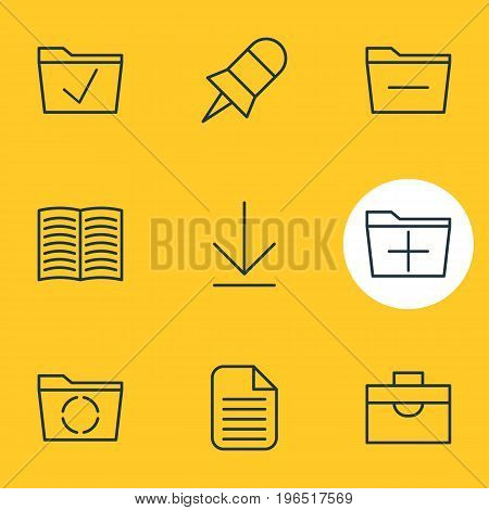 Vector Illustration Of 9 Office Icons. Editable Pack Of Approve, Downloading, Deleting Folder And Other Elements.
