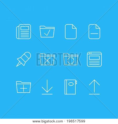 Vector Illustration Of 12 Bureau Icons. Editable Pack Of Document, Delete, Note And Other Elements.
