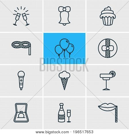 Vector Illustration Of 12 Banquet Icons. Editable Pack Of Martini, Cupcake, Fizz And Other Elements.