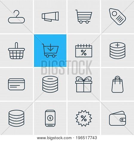 Editable Pack Of Shopping, Advertising, Mobile And Other Elements. Vector Illustration Of 16 Commerce Icons.