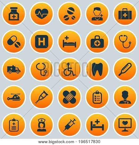 Medicine Icons Set. Collection Of Polyclinic, Drug, Spike And Other Elements