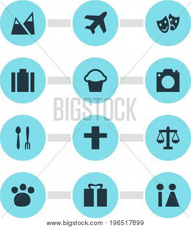 Vector Illustration Of 12 Check-In Icons. Editable Pack Of Present, Briefcase, Scales And Other Elements.