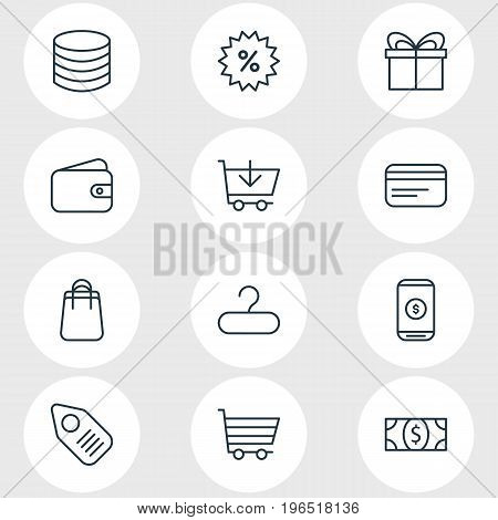 Vector Illustration Of 12 Wholesale Icons. Editable Pack Of Payment, Coins, Tag And Other Elements.