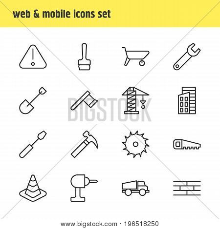 Editable Pack Of Barrier, Lorry, Spade And Other Elements. Vector Illustration Of 16 Structure Icons.