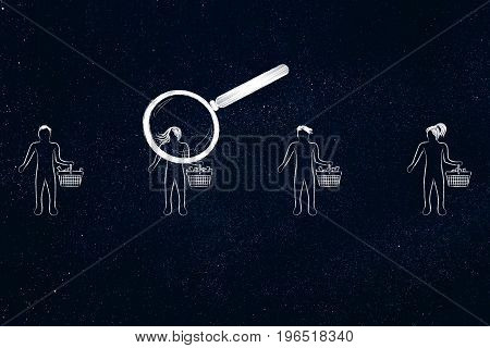 Magnifying Glass Analysing The Best Customer Out Of A Group