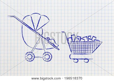 Baby In Stroller Next To Shoping Cart Full Of Items