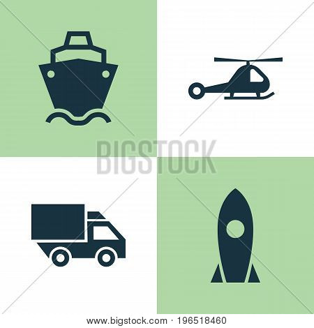 Transport Icons Set. Collection Of Spaceship, Chopper, Van And Other Elements