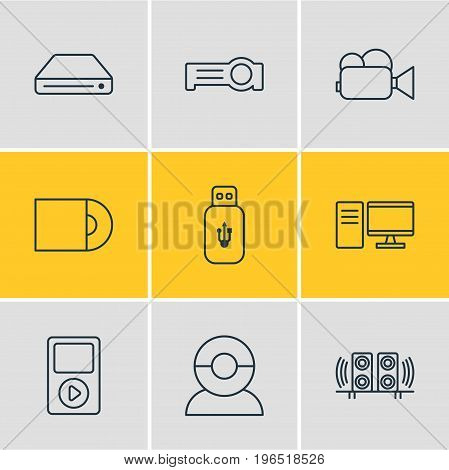Editable Pack Of Loudspeaker, Floodlight, Media Controller And Other Elements. Vector Illustration Of 9 Hardware Icons.