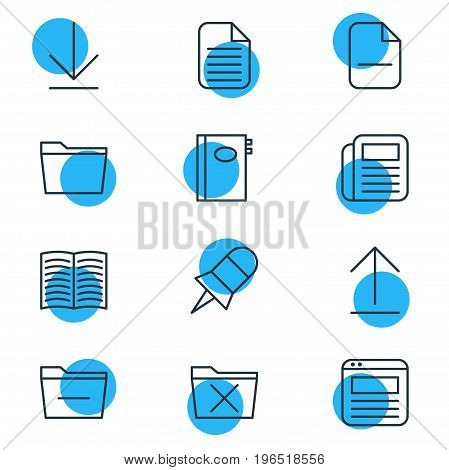Editable Pack Of Delete, Blank, Template And Other Elements. Vector Illustration Of 12 Bureau Icons.