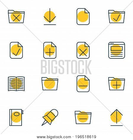 Vector Illustration Of 16 Bureau Icons. Editable Pack Of Install, Template, Textbook And Other Elements.