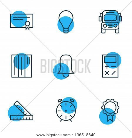 Vector Illustration Of 9 Science Icons. Editable Pack Of Calculate, Clock, Bookshelf And Other Elements.