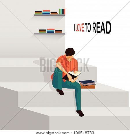 Man Reading Book and Sitting on Stairs. I love reading vector Illustration.