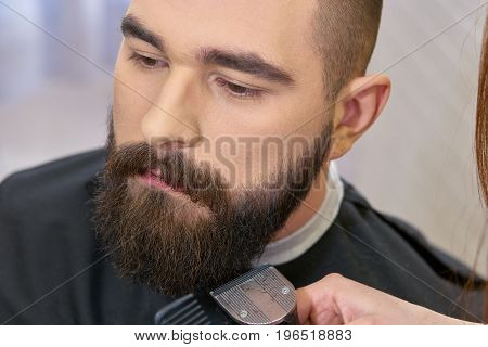 Close up of beard grooming. Barber using trimmer.