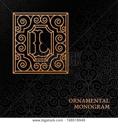 Flourishes luxury elegant ornamental monogram template with letter L in trendy linear style. Vector illustration.