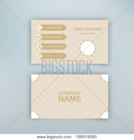 Business card blank template with textured background from rhombuses and polygonal banner. Minimal elegant vector design