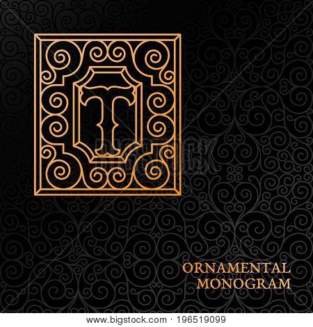 Flourishes luxury elegant ornamental monogram template with letter T in trendy linear style. Vector illustration.