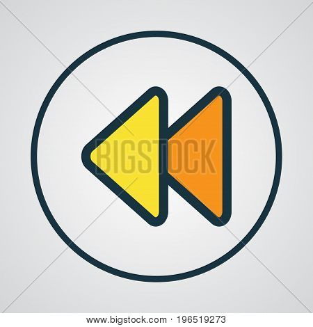 Premium Quality Isolated Backward Element In Trendy Style. Rewind Colorful Outline Symbol.