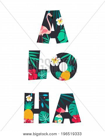 Tropical Letter ALOHA Poster with pineapple, flamingo and flowers
