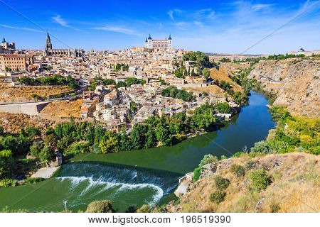 Toledo Spain. Old city over the Tagus River.