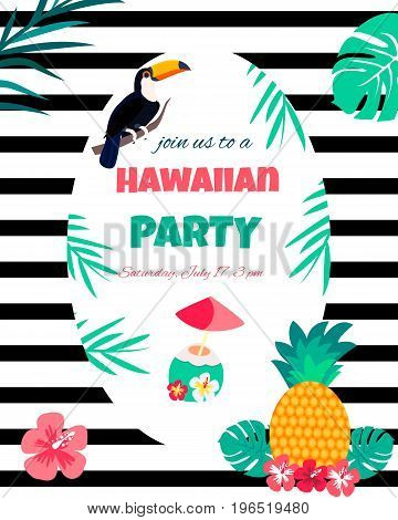 Hawaiian bright invitation pineapples, flowers, toucan, cocktail and text