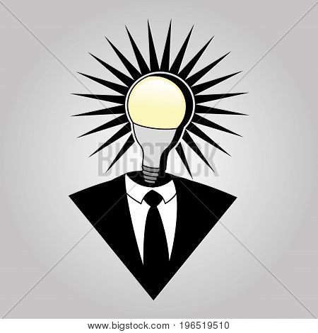 Business suit and light bulb on a gray background.