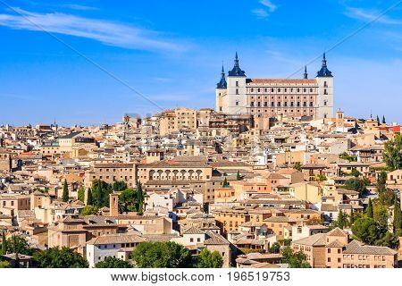 Toledo Spain. View of the old town and its Alcazar(Royal Palace).