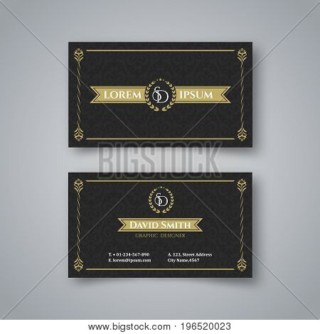Template of the blank vintage business card on the sir a background.The card with a pattern with a realistic shadow. Vector illustration.