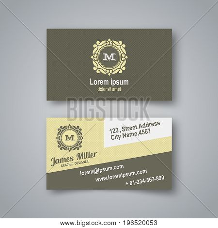 The blank business card in vintage style.Creative card with a realistic shadow. Vector illustration.