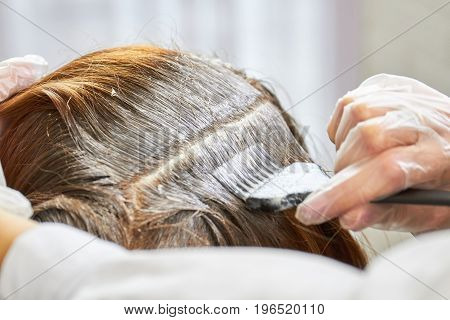 Hair dying process close up. Hand, brush and hair dye. Hair restore products.