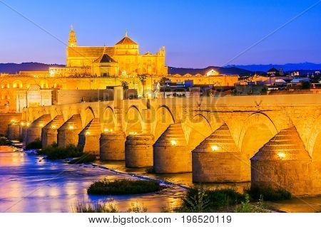Cordoba Spain. Roman Bridge and Mosque-Cathedral on the Guadalquivir River.
