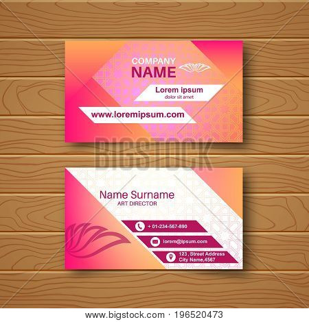 Template of the blank business card on a wooden table.Card with a multi-colored ornament and a realistic shadow. Vector illustration.
