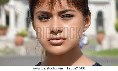 Close Up of a Serious Latina Youngster
