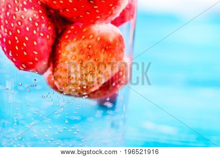 Macro photo texture of juicy strawberries. .