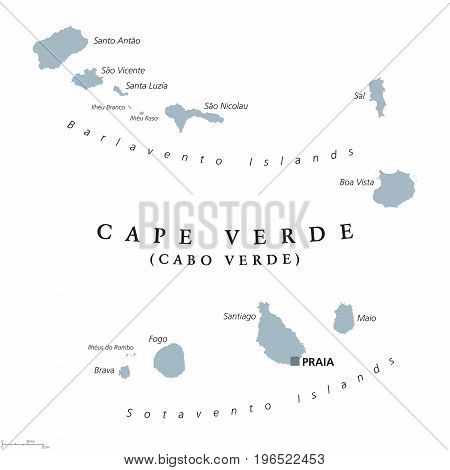 Cape Verde political map with capital Praia. Republic and island country in the central Atlantic Ocean off the coast of West Africa. Gray illustration on white background. English labeling. Vector.