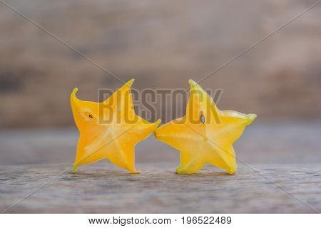 Star Fruits On Wooden Table. Thai Fruit : Star Fruit Is Popular In Asia, Sweet Taste Fruits. Star Fr