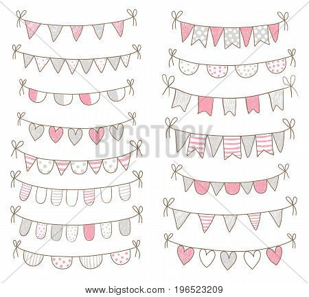 Cute doodle buntings for baby shower and birthday invitations in pink and grey colors.