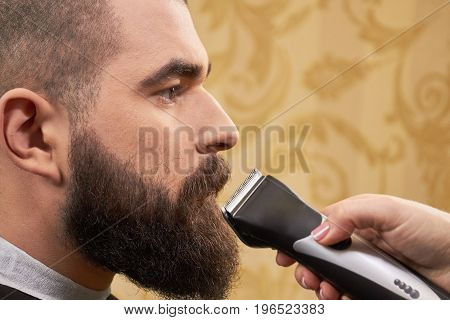 Bearded man, hand with trimmer. Customer of a barbershop. Beard care and maintenance.