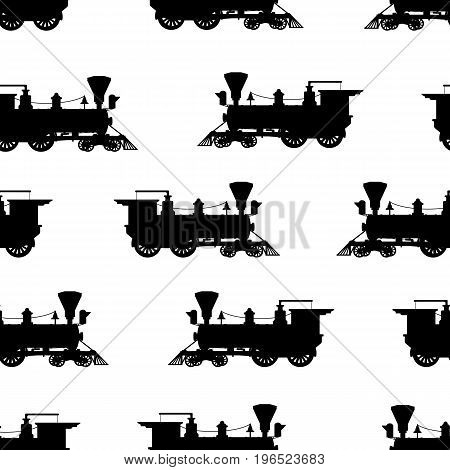 Silhouette steam locomotive. Seamless pattern. Vector background