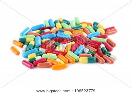 Colorful Capsules Pills Isolated On White Background