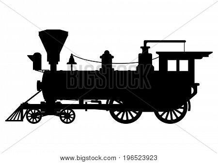 Silhouette steam locomotive. Isolated on white background