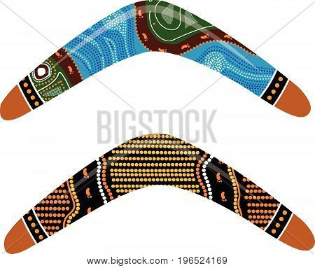 Save Download Preview Australian boomerang vector. Illustration based on aboriginal style of boomerang.