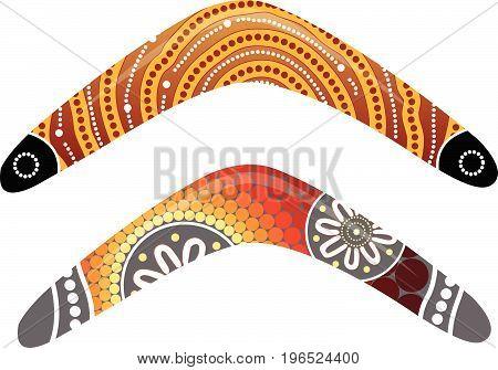 Australian boomerang vector. Illustration based on aboriginal style of boomerang.