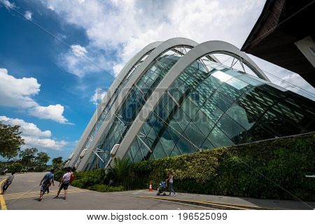 SINGAPORE - MARCH 22 2017: Wide angle picture of Flower Dome tourist attraction at Gardens by the Bay in Singapore.