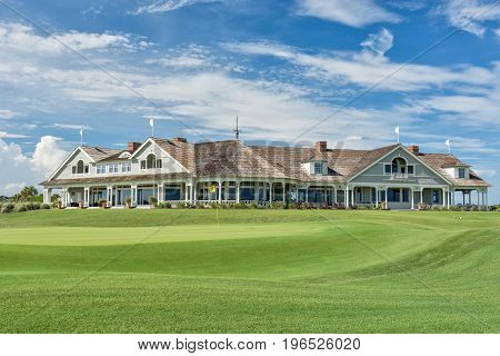 KIAWAH ISLAND, SC, USA - JUNE 9, 2017: Hosting the 1991 Ryder Cup, the 2007 Senior PGA and the 2012 PGA Championships, the Ocean Course build by Pete Dye is one of the top sea side golf courses in the United States.