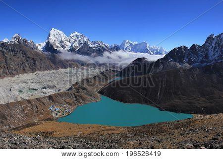 Unique landscape in the Gokyo valley. Gokyo, Ngozumba glacier.