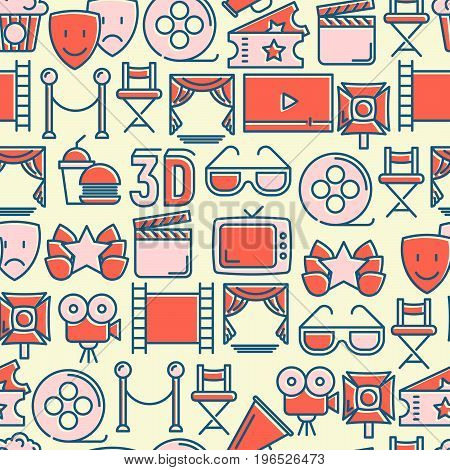 Cinema seamless pattern with thin line icons related to film. Vector illustration for background of banner, web page, announcement.