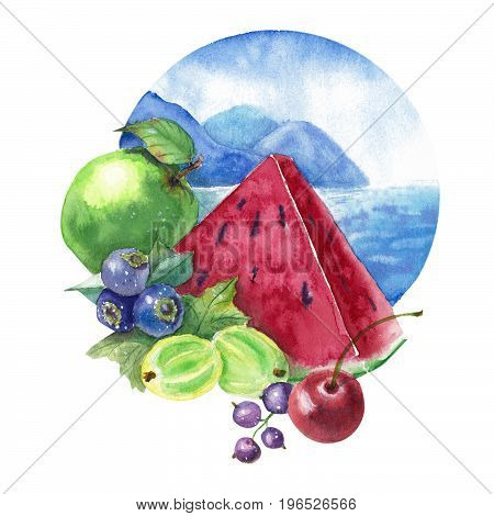 Different fruits on the background of mountains and the sea