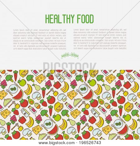 Concept of organic food contains seamless pattern with thin line icons of fresh natural products, vegetarian groceries. Vector illustration for web site about healthy nutrition.